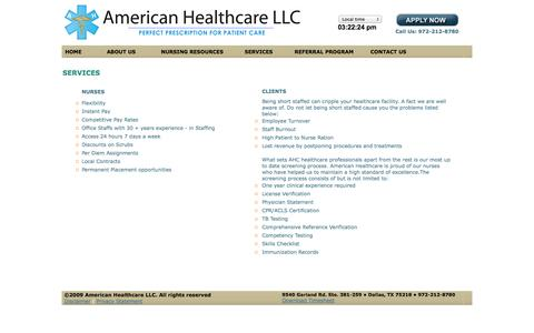 Screenshot of Services Page ahcprovider.com - .: American Healthcare :. - captured Oct. 4, 2014