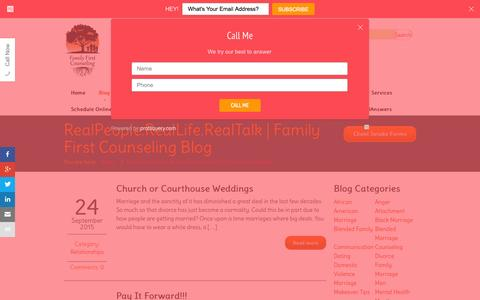 Screenshot of Blog ffctexas.com - RealPeople.RealLife.RealTalk | Family First Counseling Blog - captured Sept. 25, 2015