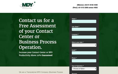 Screenshot of Landing Page mdybpo.com - MDY BPO & Contact Center - captured April 5, 2016