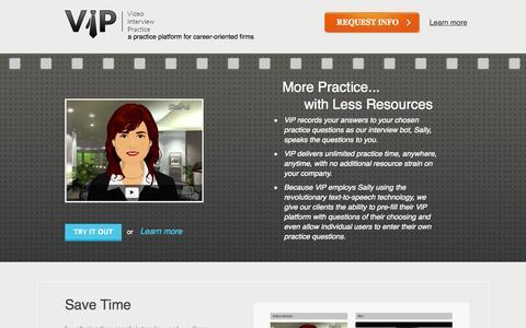 Screenshot of Home Page videointerviewpractice.com - Video Interview Practice - captured Oct. 9, 2014