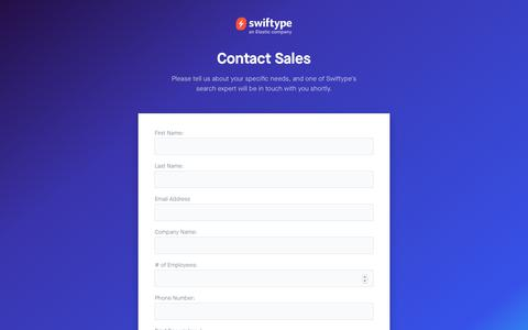 Screenshot of Contact Page swiftype.com - Contact Us - Swiftype - captured May 18, 2019