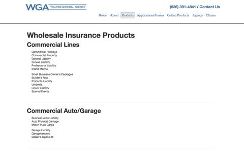 Screenshot of Products Page rsimo.com - Products - Walter General Agency - captured Oct. 26, 2017