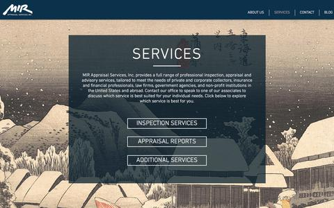 Screenshot of Services Page mirappraisal.com - Services | United States | MIR Appraisal Services - captured Oct. 1, 2017