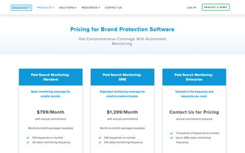 Screenshot of Pricing Page brandverity.com - Pricing for Brand Protection Software - BrandVerity - captured March 19, 2019