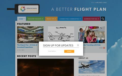 Screenshot of Blog airlines.org - Airlines For America | A Better Flight Plan - captured Feb. 5, 2016