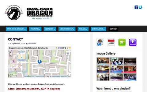 Screenshot of Contact Page taekwon.nl - CONTACT | HWA-RANG DRAGON TAEKWONDO - captured Sept. 27, 2015