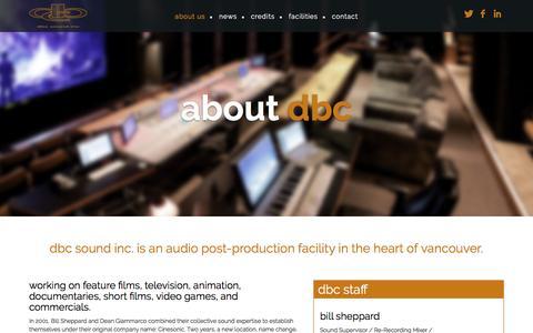 Screenshot of About Page dbcsound.com - About DBC - DBC Sound - captured Nov. 24, 2016