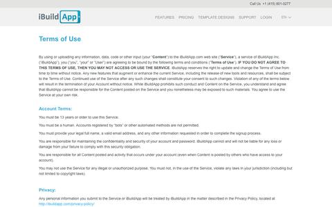 Screenshot of Terms Page ibuildapp.com - Terms of Use - captured July 4, 2016
