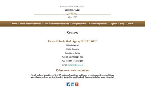 Screenshot of Contact Page ptma-mihailovic.com - Patent & Trade Mark Agency Mihailovic Law Office Serbia - captured Oct. 1, 2014