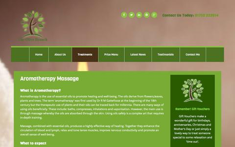 Screenshot of Services Page helenkremer.co.uk - Aromatherapy Massage - Helen Kremer - The Olive Branch - captured Jan. 28, 2016