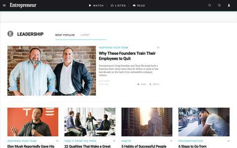 Screenshot of Team Page entrepreneur.com - Leadership News & Topics - captured Aug. 19, 2017