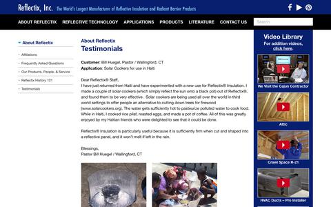 Screenshot of Testimonials Page reflectixinc.com - Testimonials | Reflectix, Inc. - captured June 20, 2017