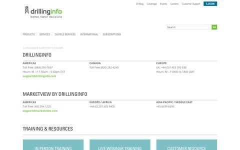 Screenshot of Support Page drillinginfo.com - Customer Support Center - Drillinginfo - captured Oct. 27, 2017