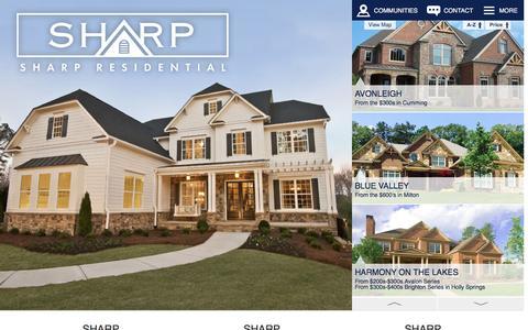 Screenshot of Home Page sharpresidential.com - Sharp Residential - New Homes in North Metro Atlanta - captured Feb. 14, 2016