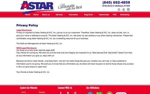 Screenshot of Privacy Page astarheating.com - Privacy Policy - Astar Heating & A/C, Inc. - captured Oct. 4, 2014