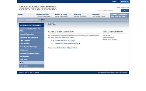 Screenshot of Press Page ca.gov - Superior Court of California - County of San Luis Obispo - Media - captured Oct. 22, 2018
