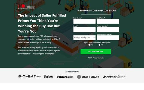Screenshot of Landing Page feedvisor.com - The Impact of Seller Fulfilled Prime: You Think You're Winning the Buy Box But You're Not | Feedvisor - captured May 29, 2018