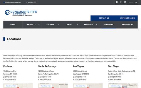 Screenshot of Locations Page consumerspipe.com - Locations - CA & NV | Consumers Pipe and Supply Co. - captured Jan. 31, 2016