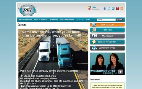 Screenshot of Jobs Page shippei.com - Freight Shipping and Logistics - Truck Driving Jobs, Careers - captured Oct. 8, 2014