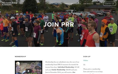 Screenshot of Signup Page palouseroadrunners.org - Join Us — Palouse Road Runners - captured Nov. 23, 2018