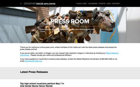 Screenshot of Press Page jmkac.org - Media/Press Releases - John Michael Kohler Arts Center - captured Oct. 16, 2017