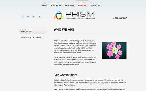 Screenshot of About Page prismsocial.com captured Oct. 1, 2014