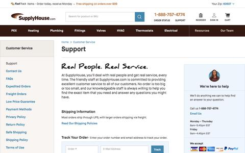 Screenshot of Support Page supplyhouse.com - Support - SupplyHouse.com - captured June 22, 2017