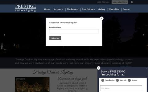 Screenshot of Home Page prestigeoutdoorlighting.com - Prestige Outdoor Lighting | Unique Walkway Lights & Garden Lamps - captured July 21, 2018