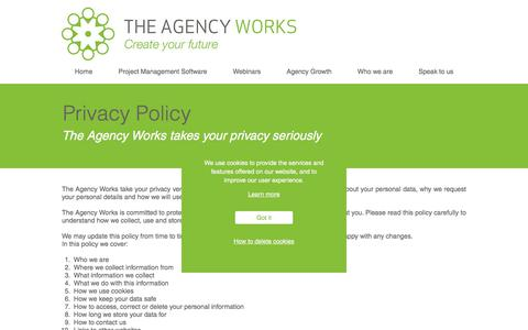 Screenshot of Privacy Page theagencyworks.co.uk - Privacy Policy  The Agency Works - captured Sept. 21, 2018