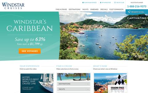 Screenshot of Home Page windstarcruises.com - Luxury Cruises & Cruise Deals  See Our Vacation Packages - captured Oct. 26, 2015