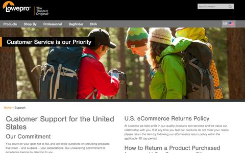 Screenshot of Support Page lowepro.com - Lowepro | Support - captured Nov. 4, 2014