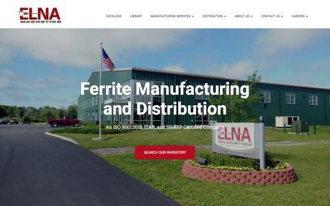 Screenshot of Home Page elnamagnetics.com - Elna Magnetics – Ferrite Manufacturing and Distribution - captured July 18, 2018
