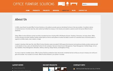Screenshot of About Page ofsinteriors.com - About Us | Office Furniture Solutions - captured Oct. 27, 2014