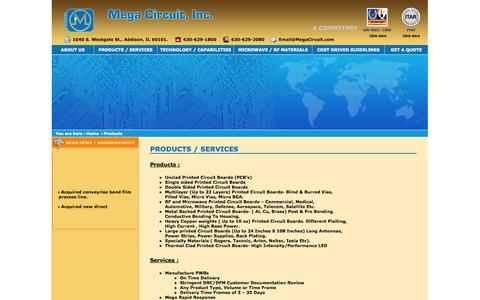 Screenshot of Products Page Services Page megacircuit.com - Mega Circuit, Inc - captured Oct. 27, 2014