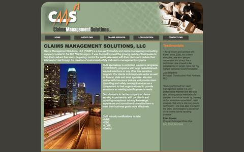 Screenshot of Home Page cms-na.com - Claims Management Solutions, LLC - captured Oct. 2, 2014