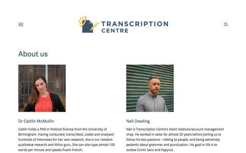 Screenshot of About Page transcriptioncentre.co.uk - About us — Transcription Services UK | Transcription Centre - captured Sept. 21, 2018