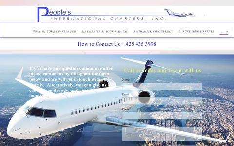 Screenshot of Contact Page peoplesaviation.net - People's International Charters - captured Sept. 27, 2018