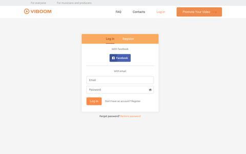 Screenshot of Login Page viboom.com - Viboom — Promote Your Video Easily - captured Oct. 26, 2017