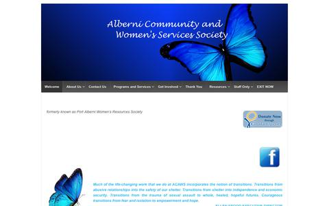 Screenshot of Home Page acaws.ca - Alberni Community and Woman's Services Society – ACAWS - captured Dec. 18, 2018
