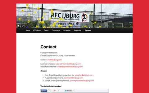 Screenshot of Contact Page afcijburg.com - Contact | AFC IJburg - captured Sept. 30, 2014