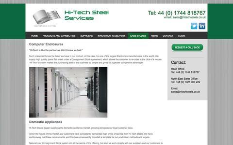 Screenshot of Case Studies Page hitechsteels.com - Case Studies - Hi-Tech Steel Services - captured Oct. 2, 2014