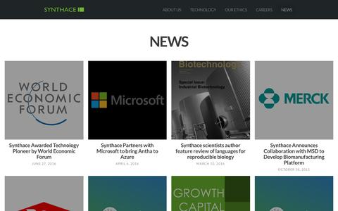 Screenshot of Press Page synthace.com - News Archives - Synthace Limited - captured Dec. 2, 2016