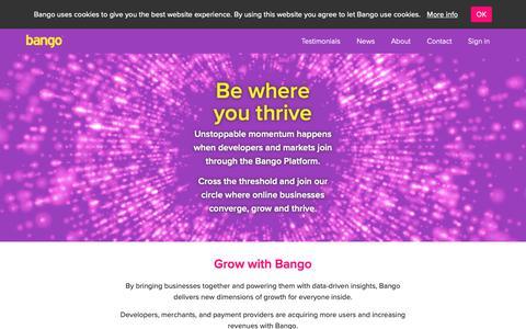 Screenshot of Home Page bango.com - Bango payment platform   Bango - captured Dec. 5, 2018