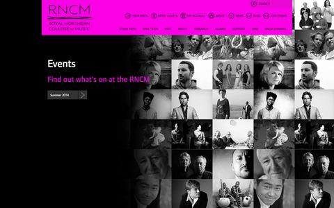 Screenshot of Home Page rncm.ac.uk - The Royal Northern College of Music - captured Sept. 19, 2014