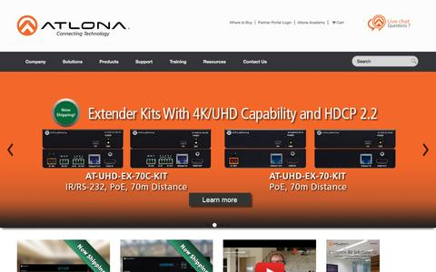 Screenshot of Home Page atlona.com - Atlona® AV Distribution Solutions for Commercial and Residential Applications - captured Oct. 2, 2015