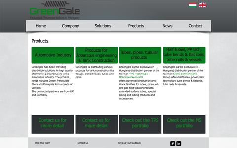 Screenshot of Products Page greengale.hu - greengale | Products - captured May 25, 2017