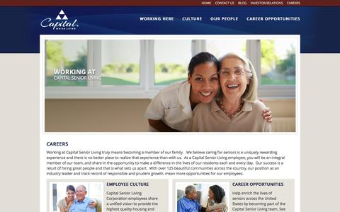 Screenshot of Jobs Page capitalsenior.com - Senior Living Careers | Assisted Living Jobs | Capital Senior Living - captured July 30, 2016