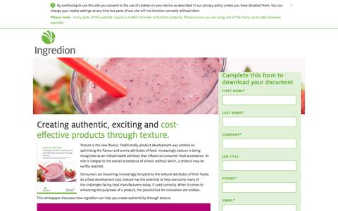 Screenshot of Landing Page ingredion.com - Creating authentic, exciting and cost-effective products through texture - captured Aug. 14, 2016