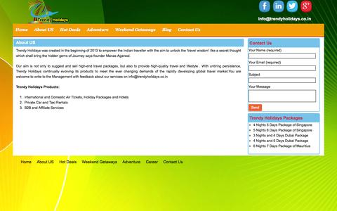 Screenshot of About Page trendyholidays.co.in - About Us- About Trendy Holidays   8979987960 - captured Nov. 4, 2014