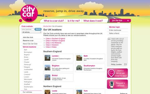 Screenshot of Locations Page citycarclub.co.uk - UK City Car Club locations | Car Hire Club | City Car Club - captured Sept. 19, 2014
